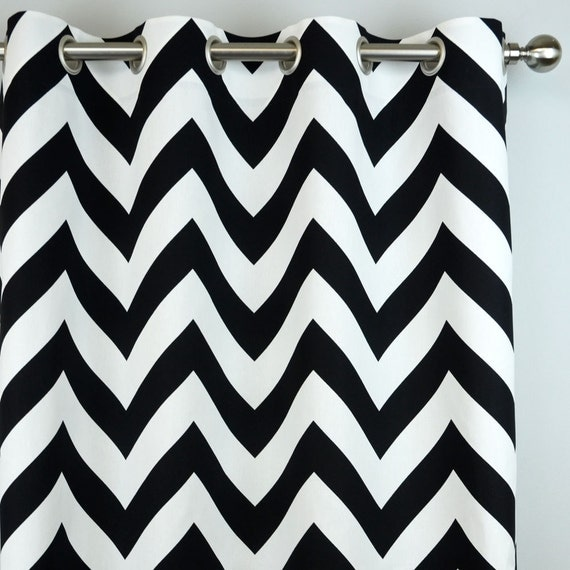 black white zippy large chevron zig zag curtains grommet. Black Bedroom Furniture Sets. Home Design Ideas