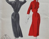 1950s Misses Wing Sleeved Dress Back Pleat Vintage Sewing Pattern Butterick 7480  Bust 32
