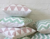 Mint Chevron Pattern 18x18 inch Pillow Cover,  Throw Cushion Bull Denim, Urban, Modern, Retro