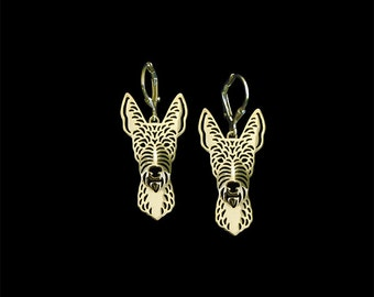Wire-Haired Ibizan Hound earrings - gold