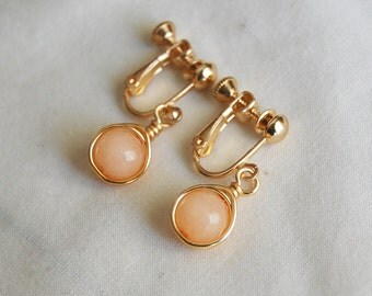Peach Clip On Earrings , Peach Screw Back Earrings , Peach Gold Earrings, Screw Back Earrings