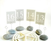 6 Beach Wedding Ideas Using Maine Beach Stone - Wedding Table Number Holders in Shades of Gray