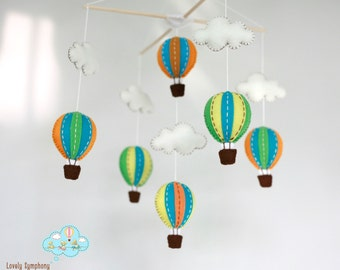 Spring sunset baby mobile - Orange and green baby mobile -