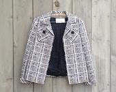 Vintage blazer | Black and white print open-front women's jacket