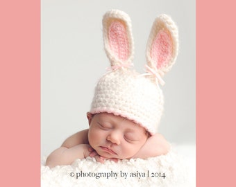 Easter Bunny Hat,  Newborn Bunny Hat, Easter Newborn Photo Prop, Baby Pink And White Bunny Hat