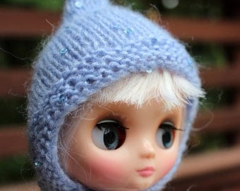 BLYTHE Middie hand knit sparkly mohair sequin pixie hat - pale blue