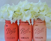 Coral Painted & Distressed Mason Jars – Mason Jars in Ombre Coral, Ombre Peach