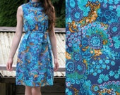60's Abstract Dress Print Polished Cotton