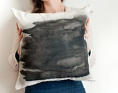 Grunge black watercolor abstract on cushion cover