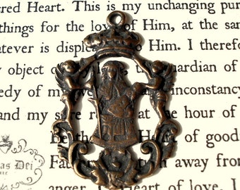 "Queen of Heaven - Mary Medal - 1 3/8"" - Bronze or Sterling Silver - Catholic Medal - Religious Medal  (M29-1234)"