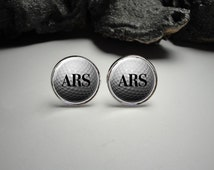 Personalized Golf Cuff Links 20mm  Silver Cufflinks for Him/Men Gift Personlized / Monogram Golf Cuff Links