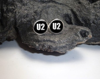 U2 Earrings U2 12mm Earrings/ U2 Silver Pendant Earrings/ U2 Jewelry U2 Stud Earrings