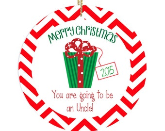 Personalized Christmas Ornament Uncle to Be with Present