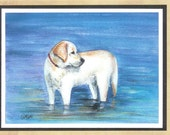 Birthday Day Labrador card dog pet watercolor print (Item  WL14)