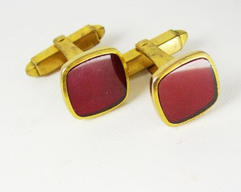 Red Art Deco Gold plated Cufflinks Vintage Semi Precious Patent Number Birthday Business
