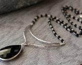 Chevron Black Onyx Pendant Necklace, 925 Sterling Silver Jet Black, Black Onyx Rosary Style, Statement Necklace, Crescent Festoon Moon