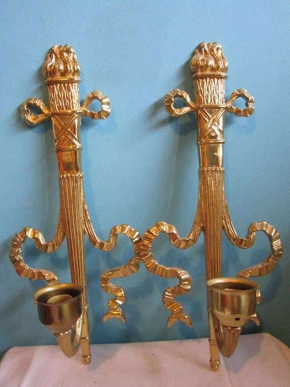 2 Brass Ornate Wall Candle Holder Sconces Bombay by GingerNIrie