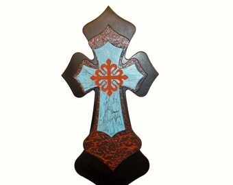 "Finished Wooden Cross Layered Stacked Decorative Wall Crosses 15"" inch"