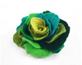 Felted Brooch Felt Multicolor Brooch Rose nunofelt silk flower folk boho green jade olive multicolor fairy