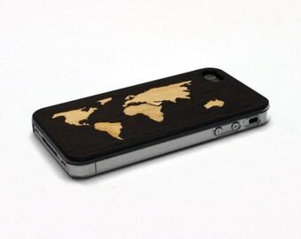 iPhone 4 Case Wood World Map Inlay Wenge Maple, Wood iPhone 4S Case Wood iPhone 4 Case, iPhone 4 Wood Case, iPhone 4S Wood Case, iPhone Case