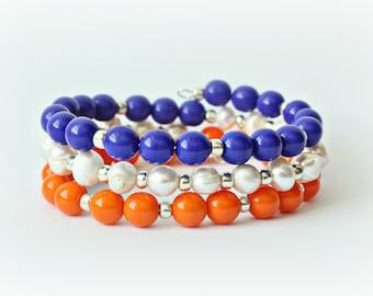 Go Gatah - Gator Blue and Orange Bracelet - Toho Wrap Around Stacking
