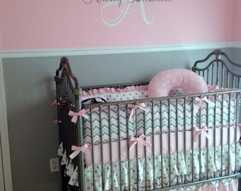 Girl's Personalized Wall Decor, Elegant Name and Monogram Vinyl Decal- Nursery Art, Sophisticated, Crib Decal