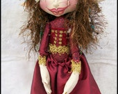 "Cloth Art Doll, Becca 13""  Standing  Pixie Art Doll in red"