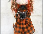 "Halloween Witch Pixie --  Winifred ""Winnie"" The  13"" Cloth Art doll  Orange/black"
