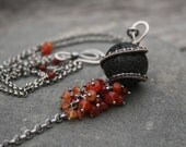 RESERVED | Vurora | Silver, lavastone and carnelian necklace with handcrafted clasp