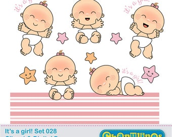 60% off Baby girl clipart- baby shower clipart, newborn illustrations digital clipart and digital paper - Set 028