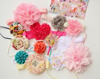 GRAB BAG Baby Headband set of 10, Baby Girl Bows and Headbands, Surprise Baby Headbands, New Baby Gift, Newborn Headband Bows Baby Head Band