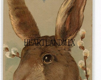 Vintage Brown Easter Bunny Digital Image