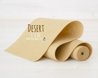 "100% Merino Wool Felt Roll - 5"" x 36"" Roll - Wool Felt Color Desert-7030 - European Wool Felt - Desert Color Felt - Skin color wool felt"