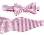 Father'/Son Bow Tie Sets - Red/Pink Seersucker