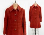1970s Wool Winter Coat German Made Rust Coat Orange Retro Coat