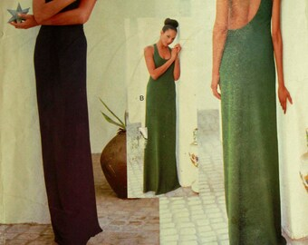 "Evening Dress, Low Back Neckline by Calvin Klein - 2000's - Vogue  Pattern 1940  Uncut  Sizes  6- 8-10  Bust 30.5-31.5-32.5"""
