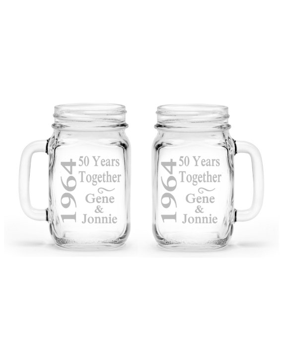 set of 2 Anniversary Gift Custom Etched Handled Mason Jar 16oz Eco Friendly