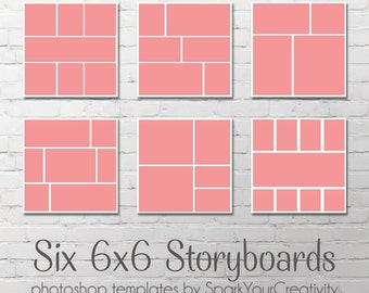 Storyboard Photo Templates // Six 6x6 Storyboards // Instant Download // Blog Board // Photographers Template