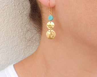 Gold coin earrings, Turquoise and gold earrings, December birthstone jewelry