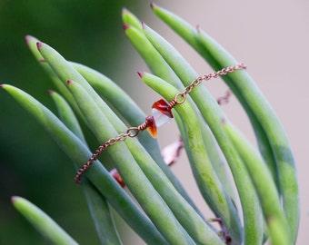 Minimal Jewelry, Red carnelian stone Wild bracelet in copper or silver
