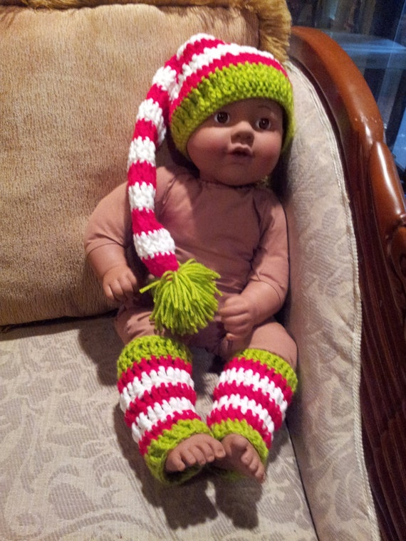 Child Elf Hat Crochet Pattern : Crochet Baby Elf Hat & Legwarmers Photo Prop Set by ...
