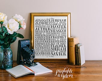 Names of God Jesus wall art, bible verse printable Scripture Print Christian wall decor poster, inspirational quote typography digital