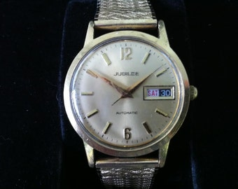 Vintage Men's Watch - Jubilee by Benrus - 17 Jewel Mechanical Watch - Circa 1956 - Madison Avenue Style - Day and Date  Dual Day Calendar
