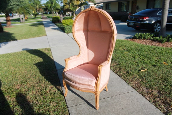 Vintage Pink Porter Hooded Chair Hollywood Regency French Club Lounge Palm Beach Paris Bubble Boudoir Glamour Vanity Seat