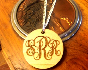 Round Wooden  Monogrammed Necklace  **Ships in 3-5 Days**