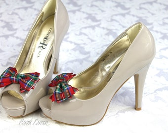 Tartan Bow Shoe Clips, Red Plaid Shoe Clip, Scottish Bow Clip Shoes