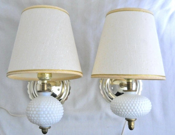 Milk Glass Bath Light: Hobnail Milk Glass Sconce Electric Sconce Shabby Chic Decor