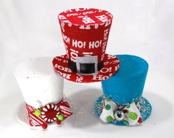 Set of 3 Santa Hat, HoHo Tree topper, Christmas Decoration 5 inch hats