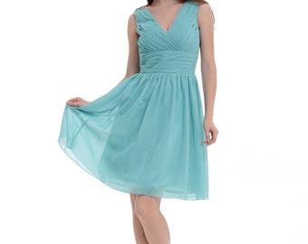 Hunter Green Bridesmaid Dress, A-line V-neck Straps Short Chiffon Bridesmaid Dress