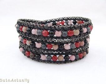 Pink Black stone wrap bracelet with black chain trimming on polyester cord, triple wrap bracelet